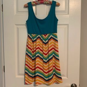 Judith March turquoise and chevron dress